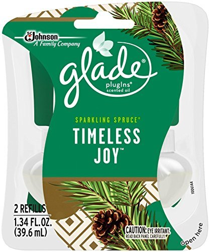 Glade Plugins Scented Oil Refills - Holiday Collection 2016 - Sparkling Spruce - Timeless Joy - Net Wt. 1.34 FL OZ - 2 Count Refills Per Package - One Package