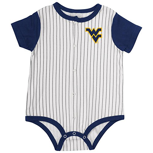 Colosseum Infant West Virginia Mountaineers Baseball Pinstripe Bodysuit - 3 to 6 - Pins Mountaineers West Virginia