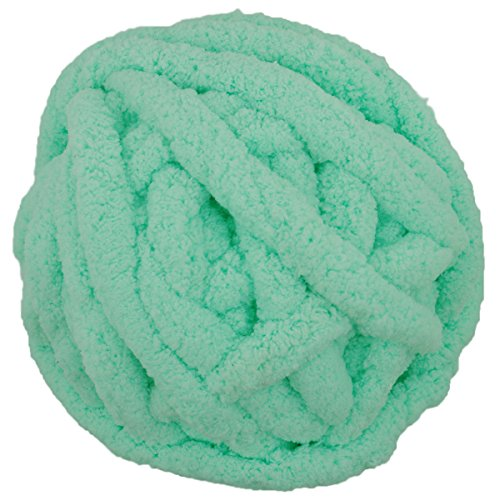Charmkey Baby Chenille Yarn Chunky 100% Polyester Extreme Soft Thick Arm Knitting Crocheted Blanket Yarn Big Ball for Giant Knit Throw Mat Infinity Scarf, 250 g/8.82 oz (Cabbage)