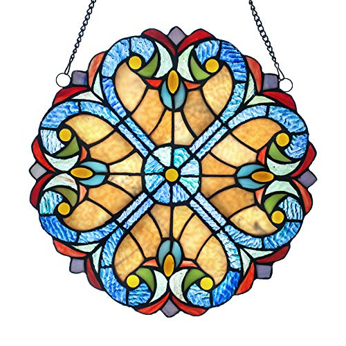 Glass Panel: 12 Inch Decorative Window Hanging Suncatcher - Small Round Tiffany Style Ornament - Amber Heart Decoration for the Wall or Windows with Blue, Green, Purple and Red ()