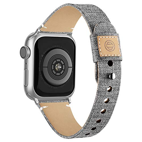 Compatible with Apple Watch Band 38mm 40mm 42mm 44mm for Women Men, Slim Fabric Canvas Band with Soft Leather Lining and Snap Button for Apple Watch Series 6/5/4/3/2/1 SE