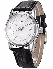 KS Classic Men Automatic Mechanical Watch White Dial Date Display Black Leather Band KS232