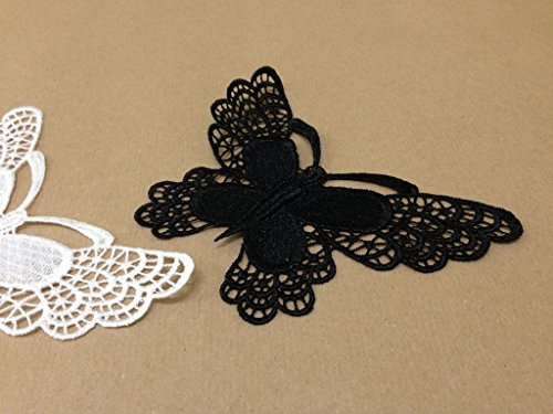 CraftbuddyUS 4 x Vintage Black Large Butterfly Lace Motifs Patches Sewing Sew on Stick on (Free Pattern Crochet Butterfly)