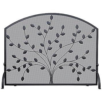 single panel fireplace screen with leaves in black amazon co uk rh amazon co uk