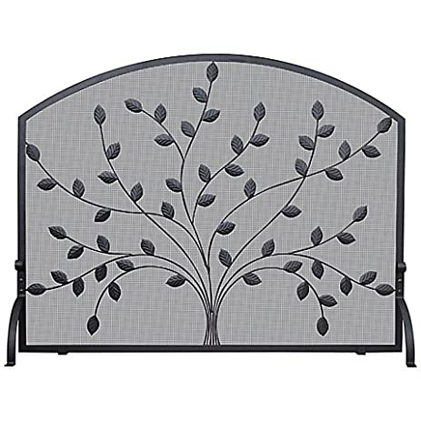 Single Panel Fireplace Screen With Leaves In Black