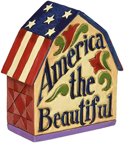 Department 56 Jim Shore Heartwood Creek Patriotic Barn Figurine, 3.875