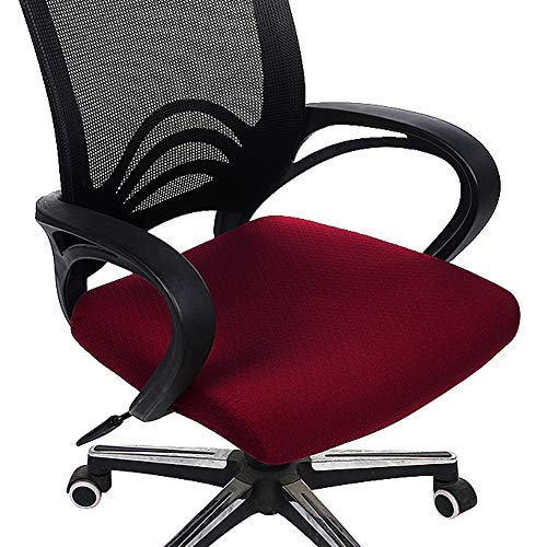 (Homaxy Premium Jacquard Office Computer Chair Seat Cover, Spandex Stretch Desk Chair Seat Cushion Covers, Durable Protectors, Burgundy Slipcover)