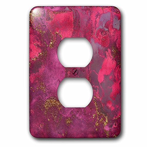 3dRose Uta Naumann Faux Glitter Pattern - Luxury Pink Rose Gold Gem Stone Marble Glitter Metallic Faux Print - Light Switch Covers - 2 plug outlet cover (lsp_269016_6) by 3dRose (Image #1)