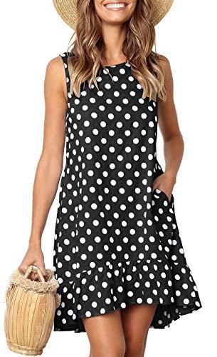 LouKeith Womens Dresses Sleeveless Polka Dot Ruffle Casual Summer Beach Loose Short Tank Dress with Pockets Black M ()