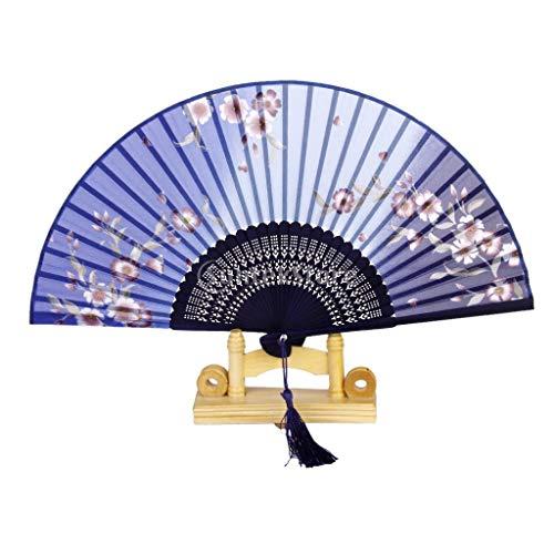 Fan Japanese - Silk Sakura Pattern Hand Fan Japanese Folding Pocket Blue - Area Japanese Blue Tooth Speaker Light Party Decorations Fake Tree Hose Connector Wall Wedding White String Flower ()