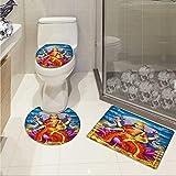 Carl Morris Ethnic toilet carpet floor mat set Holy Idol Figure of Wealth on Lotus Elephants Cloudy Night Sky Big Full Moon Festive 3D digital printing Rug Set Multicolor