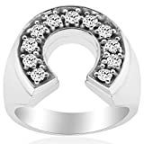 3/4ct Mens Diamond Horseshoe Lucky Pinkie Ring 14K White Gold