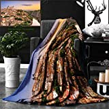 Unique Custom Double Sides Print Flannel Blankets Wanderlust Decor Collection Toledo Spain Old City Over The Tagus River Downtown Castle Super Soft Blanketry for Bed Couch, Twin Size 80 x 60 Inches