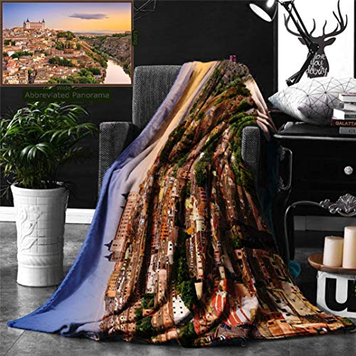 Unique Custom Double Sides Print Flannel Blankets Wanderlust Decor Collection Toledo Spain Old City Over The Tagus River Downtown Castle Super Soft Blanketry for Bed Couch, Twin Size 80 x 60 Inches by Ralahome