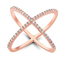 """18K Rose Gold Over Sterling Silver Cubic Zirconia Criss-Cross Single """"X"""" RIing"""