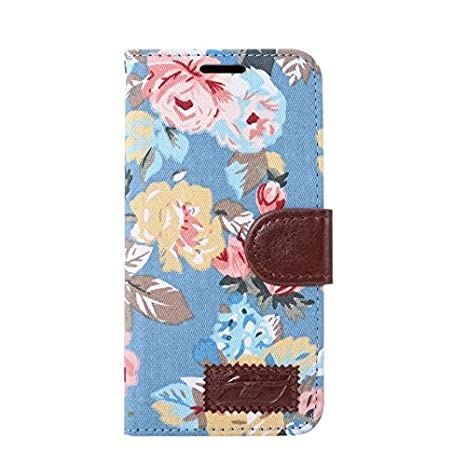 Galaxy S7 Case,Samsung Galaxy S7 Case, [Full-Protection] Beautiful Flowers Design Wallet Premium PU Leather Flip Cover with Credit Card ID Holders and Slot Case for Samsung Galaxy S7 (Blue) BTJP