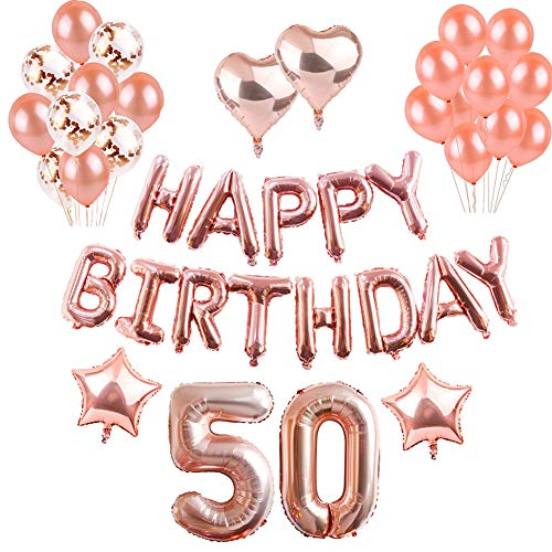50th Birthday Balloons, Puchod Rose Gold 50 Foil Balloons Birthday Decorations Party Supplies Set Confetti Latex Balloons for Women -