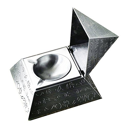 Unique Exquisite Windproof Pyramid Ashtray with Bas Reliefs Style Perfect Father's Day and Business Gift / Retro Egyptian Style Magic Pyramid Jewelry Storage Box Table Home Office Bar Decor for (Office Furnishings Decor)