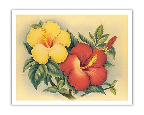 Pacifica Island Art Hawaiian Hibiscus - Hawai'i State Flower - Vintage Hawaiian Airbrush Art by Eve c.1940s - Hawaiian Fine Art Print