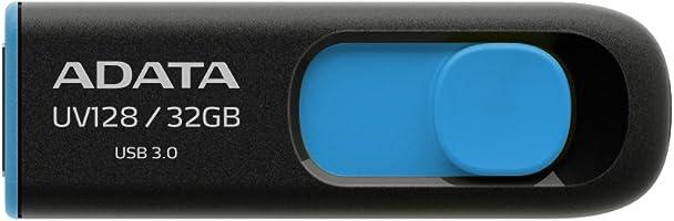 ADATA UV128 32GB USB 3.0 Retractable Capless Flash Drive, Blue (AUV128-32G-RBE)