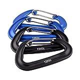 D-FantiX Aluminum Wiregate Carabiner Keychain Clip D-ring Hook for Hammocks Camping Hiking Traveling Outdoor 12KN Pack of 4(2 Black 2 Blue)