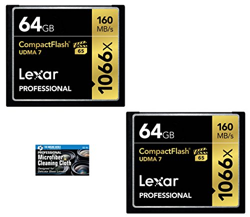 - Lexar 64GB Professional 1066x Compact Flash Memory Card (LCF64GCRBNA1066) 2-Pack Bundle + TheImagingWorld Microfiber Cloth