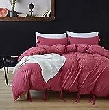 DREFEEL Egyptian Quality Vibrant Stone Washed Microfiber Burgundy Duvet Cover King Size 3 Pcs Set (1 Duvet Cover, 2 Pillowcase) - Soft Comforter Cover Quilt Case Hypoallergenic - Solid Bedding