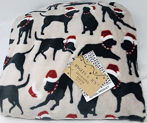 Jingles and Joy Black Dogs with Santa Hats Sherpa Lined Plush Oversized Throw Blanket 50 x 60 -