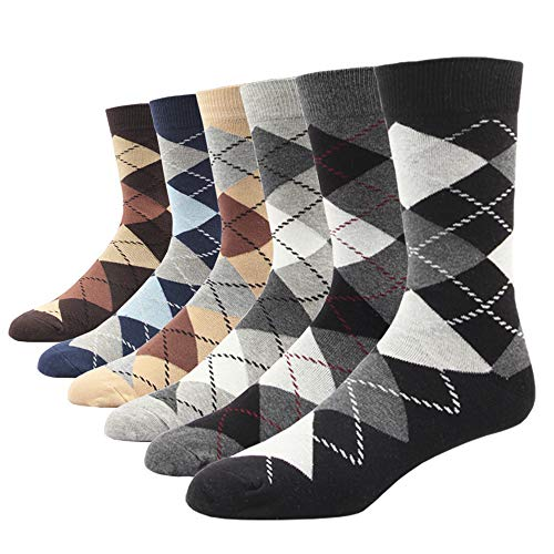 Men's Dress Socks Big & Tall 6-Pack Argyle Plaid Dark Color Classic Style for XL: US Shoe Size 12-16 / Sock Size 13-16