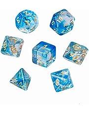 GWHOLE Moncolis 7 stuks polyedrische dobbelstenen set transparant speelkubussen voor Dungeons and Dragons DND RPG MTG blauw