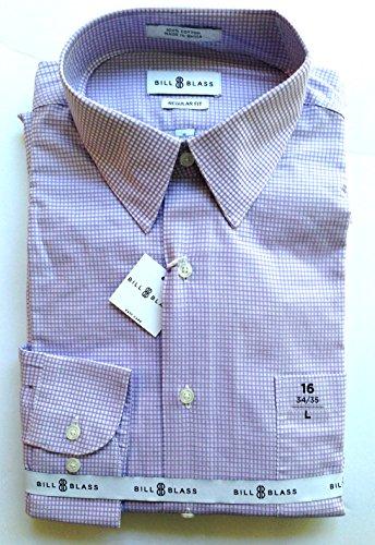 Bill Blass Mens Long Sleeve Dress Shirt, Lavender Check, 16-34/35