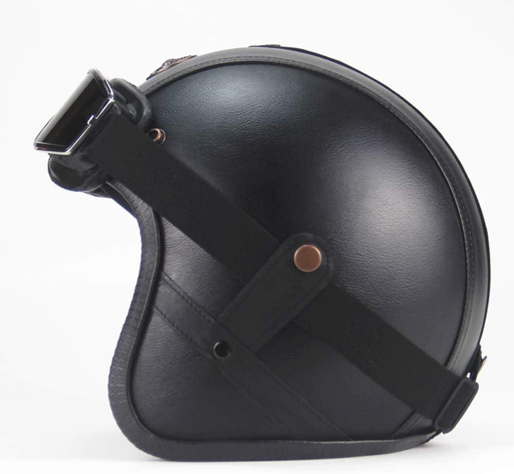 LYJNBB Halber Motorradhelm Harley-Helme mit offenem Gesicht passend f/ür Bike Cruiser Scooter DOT Approved schneller Schnellverschluss
