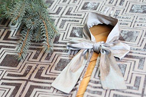 Silver Christmas Tree skirt, Modern Chenille Velvet Christmas Tree skirt, Geometrical Print Christmas tree skirt 53