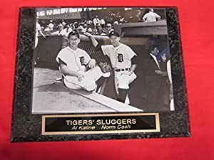 Tigers Al Kaline Norm Cash Collector Plaque w/8x10 Vintage Photo