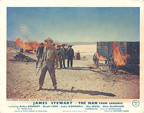 Man From Laramie original lobby card James Stewart in desert burning wagon