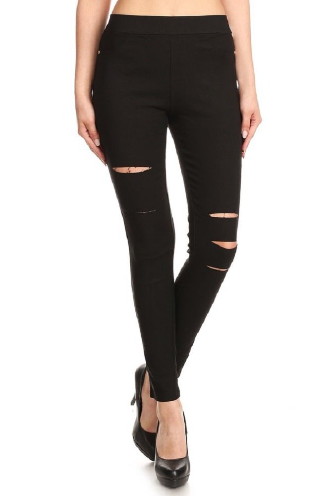 Jvini Women's Ultra Stretch Pull-On Skinny Ripped Jean Jegging Pants (Medium, Black)