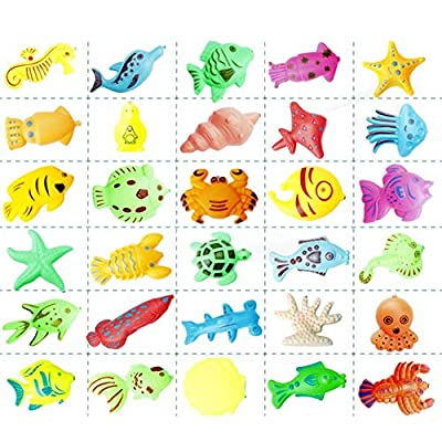 Fishing Game Toys Children Bath Toys Fishing Magnetic Toys 26pcs for Inflatable Swimming Pool Bathtub Early Education Toys Use: Kitchen & Dining