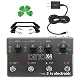 TC Electronic Ditto X4 Looper Guitar Pedal - INCLUDES - Blucoil 9V Replacement Power Supply + 4 Pack of Guitar Picks + 2 Hosa 6 inch Molded Right-Angle Guitar Patch Cables