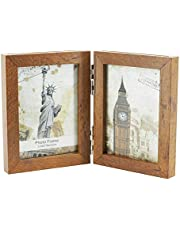 Janice life Solid Wood Folding Picture Frames with 5x7 Glass-Hinged Double Picture Frames- Triple Fold Photo Frame Tabletop Frames (Brown, 5x7-2)