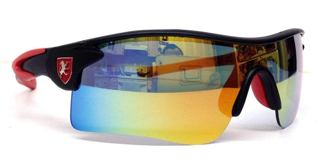 Khan Red & Black Wrap Around Sport Sunglasses Yellow Iridium Lens by KHAN