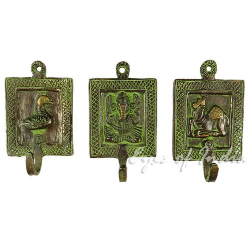 EYES OF INDIA Brass Animal Coat Key Hanger Wall by Eyes of India
