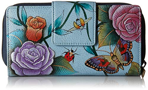 Anuschka Hand Painted Designer Leather Purse for Women Organizer Clutch Wallet (Roses D'Amour 1120 ()