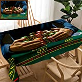 Skocici Unique Custom Design Cotton and Linen Blend Tablecloth Poker Player Taking Poker Chips After WinningTablecovers for Rectangle Tables, 60'' x 40''