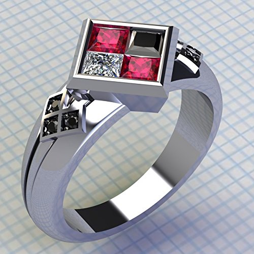 Batman Harley Quinn 925 sterling silver Princess Cut Diamond Engagement Weddind Jewelry Ring Size 4-12