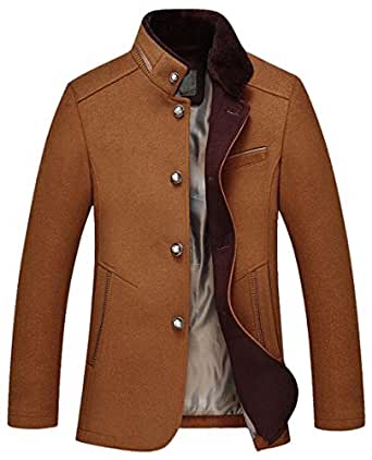 Fensajomon Mens Autumn Winter Single Breasted Wool Trench