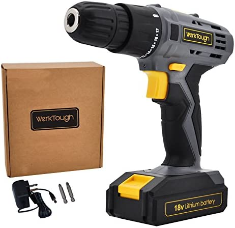 Cordless Drill Driver Powerful Screwdriver 18V Lion Battery with Charger Uniteco D018