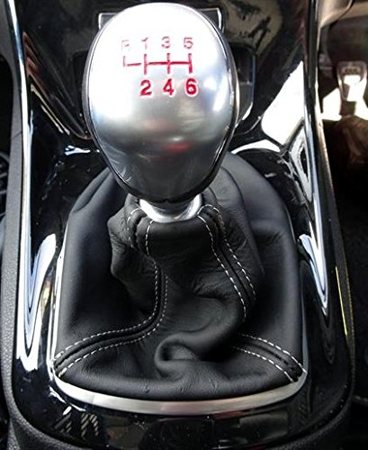 para Fiesta 2011-18 Cuero Negro Costura Negra Incl.ST RedlineGoods Bota//Funda para Palanca de Cambios 2