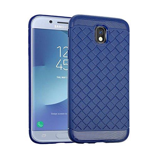 Funda duradera de TPU con diseño de tejido suave para Samsung Galaxy J3 (2017) [Europa Edición] ( Color : Blue ) Blue