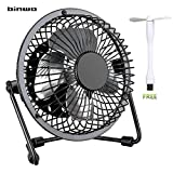 USB Fan, Binwo Quiet Mini Table Desk Personal Fan and Portable Metal Cooling Fan for Office Home School and Camping, High Compatibility, Power Saving with 360 Degree Rotation, 4 Inch ( Black )