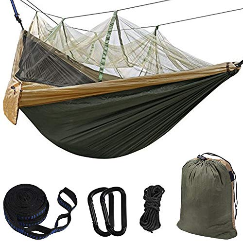 Hammock Camping Single & Double with Mosquito/Bug Net and Tree Straps & Carabiners | Easy Assembly |Lightweight Portable Parachute Nylon Hammock for Camping, Backpacking,Travel, Beach Khahi/Green